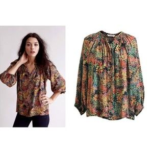 Tucker classic microfloral peasant blouse XS P